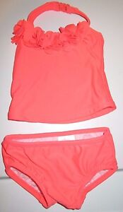 Carter's Pink 2 pc Swimsuit 3-6 Months Solid Ruffly Flowers at Top Cute