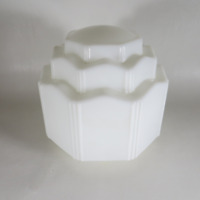 Vintage Antique Art Deco Skyscraper Milk Glass Ceiling Light Fixture Cover Shade