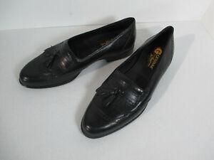 Shoes Mens Giovanni Italy Loafers Tassel Fringe Black Leather Dress Slip-On 9D