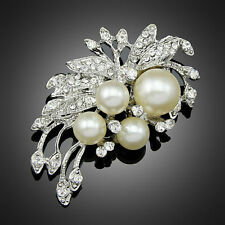 Women Costume Jewelry Brooch pin Ad079 Pearl Wedding Party Flower Silver Bouquet