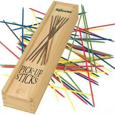 Classic Game Pick-Up Sticks With Wooden Storage Box Vintage Kid Toys Antique Toy