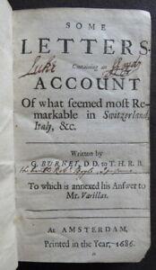 BURNET LETTERS ~1687~ BOYLE Account SWITZERLAND ITALY Varillas REVOLUTION EUROPE