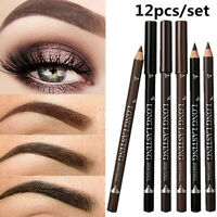 12Pcs/Set Waterproof Eye Brow Pencil Brown Black Eyebrow Pen Long Lasting Makeup