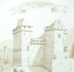 LA VILLE d'ENTRAYGUES en 1587 Aveyron Dessin au Brou de noix Signé B GRATIO 2005
