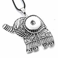 Snap Jewelry Fits 18mm Button Elephant Pendant Necklace Charm Ginger Metal Snaps