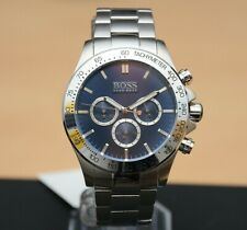 BRAND NEW HUGO BOSS 1512963 Mens Ikon Silver Blue Face Chronograph MENS Watch