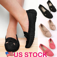 New Women's Ladies Leather Flats Slip On Pumps Soft Comfy Work Shoes Loafers US