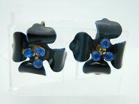 Blue Enamel Rhinestone Flower Clip On Vintage Earrings Gold Tone