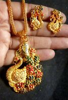 22K Gold Plated Indian meenakari peacock Necklace chain earrings pendant set kK