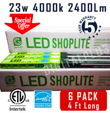 (6) Pack LED SHOP LIGHT 4Ft 23W 4000k GARAGE WORK BENCH FIXTURE LAUNDRY UTILITY