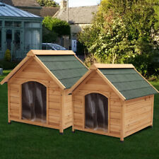 Large Dog Kennel Wooden Puppy House Home Apex Roof Timber Kennels Outdoor Garden