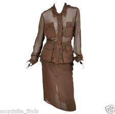 RARE TOM FORD for YVES SAINT LAURENT COGNAC SILK SAFARI SKIRT SUIT