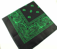 Black and Green Paisley Bandana Bandanna Head Wear Bands Scarf Neck Wrist Wrap