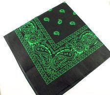 Black and Green Paisley Bandana Bandanna Head Wear Bands Scarf Neck Wrist Wrap