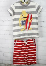 Mini Boden T-Shirt & Shorts Outfit Surf Monster Surfboard Boys 5-6Y Stripes