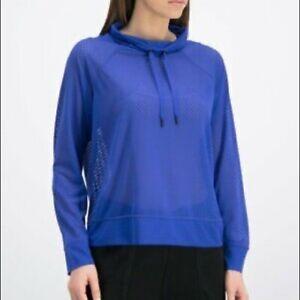 DKNY Mesh Funnel-Neck women's Top - Royal Blue - Small/Medium
