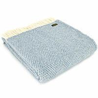 TWEEDMILL TEXTILES KNEE RUG 100% Wool Sofa Bed Throw Blanket BEEHIVE PETROL BLUE
