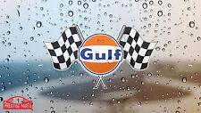 Gulf Checkered Flagg Fenster Aufkleber 150 mm sticker Zugelassen von Gulf Oil UK