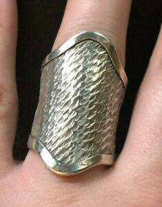 Sterling Silver Ring Big Knuckle Textured Chevron Long Sz 8 6.7g 925 #1269