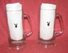 HUGH HEFFNER's PLAYBOY Bunny Club 2 DRINKING GLASS STEINs SET 1960's wBunny Logo