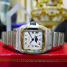 Ladies CARTIER Santos Calander Moon Phase Steel 18k Yellow Gold Quartz Watch