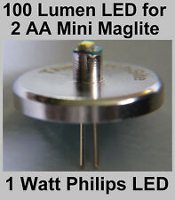 Mini MAGLITE LED Upgrade Bulb for 2 AA Torch. Brightest Philip 1 watt Conversion