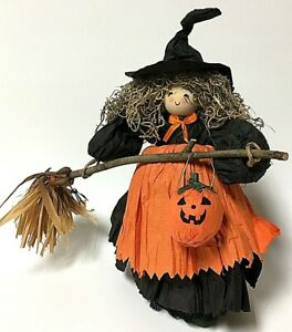 """Handcrafted Paper and Wood 12"""" Witch Country Halloween Decor Figure"""