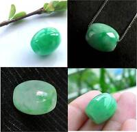 Natural Green Jade Carved Chinese Lucky Barrel Bead + Sterling Silver Necklace