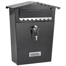 Wall Hanging Mailbox Steel Post Letter Box Retrieval Door block keys Black