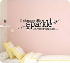 "36"" She Leaves a Little Sparkle Wherever She Goes Stars Girl Wall Decal Sticker"