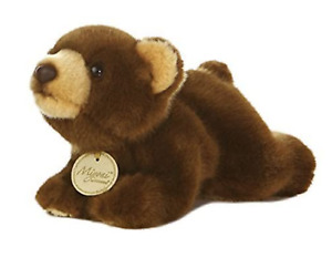 "NWT Miyoni Tots 8"" Plush Baby Bear Cub Dark Brown Stuffed Animal Small Laying"