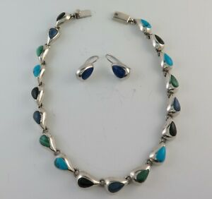 Beautiful Multi Stone Relief Teardrop Mexican Necklace and Earring Set
