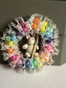 Vintage Dollhouse Miniature Clay Easter Bunny Wreath Polymer Beads Lace