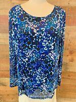 New~$59~KASPER XL Plus Women's Blue/Black Long-Sleeve Stretch TOP & TANK Shirt