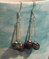 Ruby Nuggets, July & Capricorn Birthstone, Earrings on 925 Silver Chains & Hooks