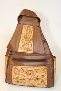 Mexico Handcrafted Womens Petite Tooled Leather Backpack Daypack Carrier Bag