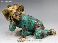 "11"" Tibet Turquoise Coral Bronze Gild Ganapati mammon Elephant Buddha Statue"