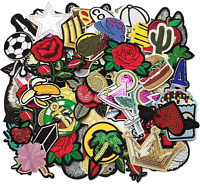 50 PCs Random Lot of Sew On Patches Assorted Iron On Styles Sewing