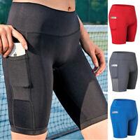Women Pockets High Waist Hot Yoga Shorts Push Up Workout Sport Running Pants Gym