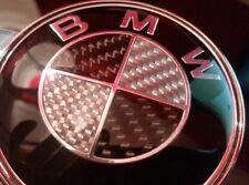 2 x BMW Noir & Argent Carbone 82 mm Avant & 74 mm Arrière Badges brillant résine époxy