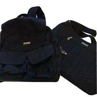 Baggallini LOT 2 Black Nylon Backpack Purse Sling Bag Handbag Medium BUNDLE