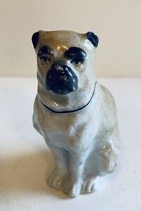 Antique English Staffordshire PUG Dog Figurine W/glazed Porcelain Finish