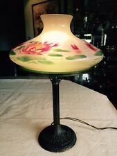"Pittsburgh Lamp Signed ""PLB & G Co 1791"", Water Lily Pattern Shade"