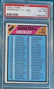 1975 Topps Basketball #181 Checklist 111-220 PSA 6