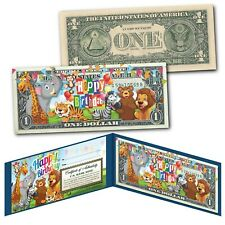 HAPPY BIRTHDAY Zoo Animals Youth Colorized Genuine Legal Tender U.S. $1 Bill