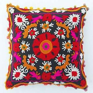Suzani Embroidery Cushion Cover Indian Cotton Pillow Cases Decorative Home