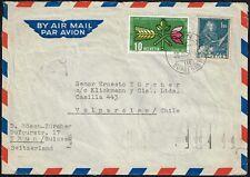 711 SWITZERLAND TO CHILE AIR MAIL COVER 1954 THUN - VALPARAISO