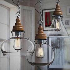 Modern Pendant Light Fixture Vintage Slag Glass Ceiling Lampshade Round Shape