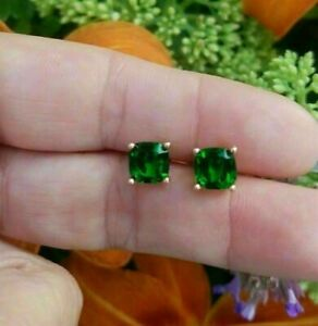2.00 Ct Cushion Cut Green Emerald Solitaire Stud Earrings 14K Rose Gold Over