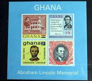 Ghana – 1965 – Lincoln Memorial – LM Mint - Minisheet – (R8)
